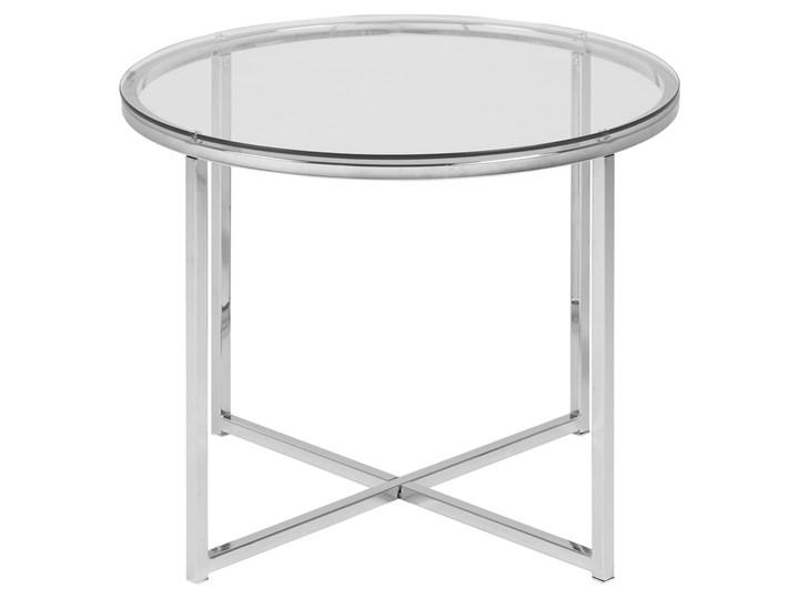 Stolik kawowy Cross 55 cm transparentny blat szklany Szkło Metal Styl Nowoczesny