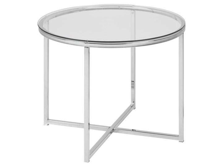 Stolik kawowy Cross 55 cm transparentny blat szklany Szkło Metal Kształt blatu Okrągłe