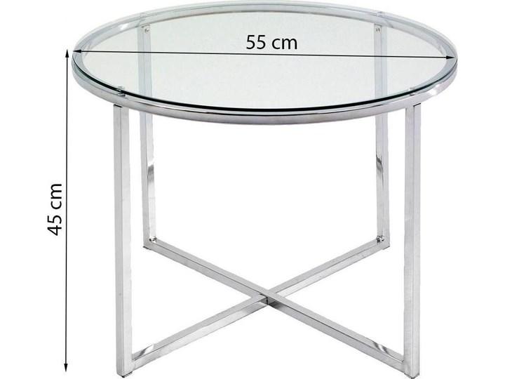Stolik kawowy Cross 55 cm transparentny blat szklany Metal Szkło Kształt blatu Okrągłe