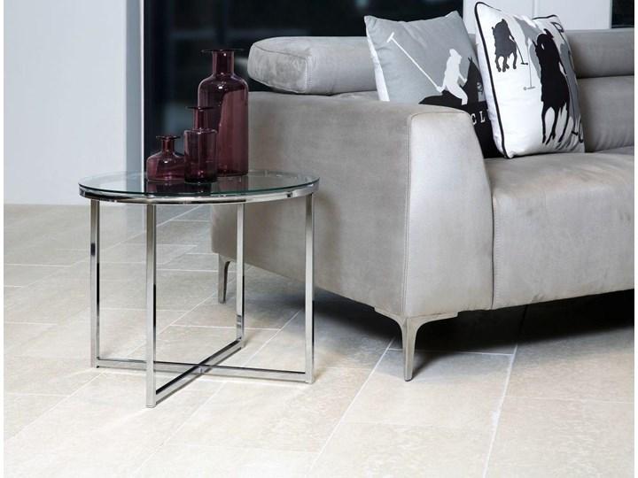 Stolik kawowy Cross 55 cm transparentny blat szklany Szkło Metal Styl Skandynawski
