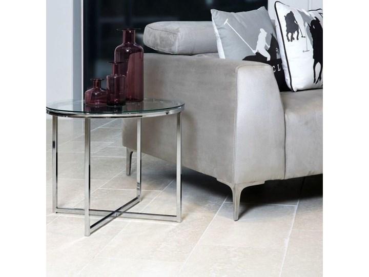 Stolik kawowy Cross 55 cm transparentny blat szklany Szkło Metal Kolor Przezroczysty