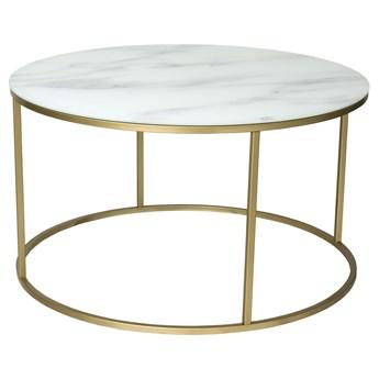 Stolik kawowy Gallant ∅85 cm biały podstawa złota