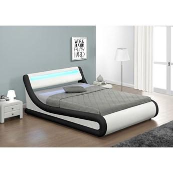 Łóżko z pojemnikiem 120x200 - COMO (138) LED biało-czarne ekoskóra