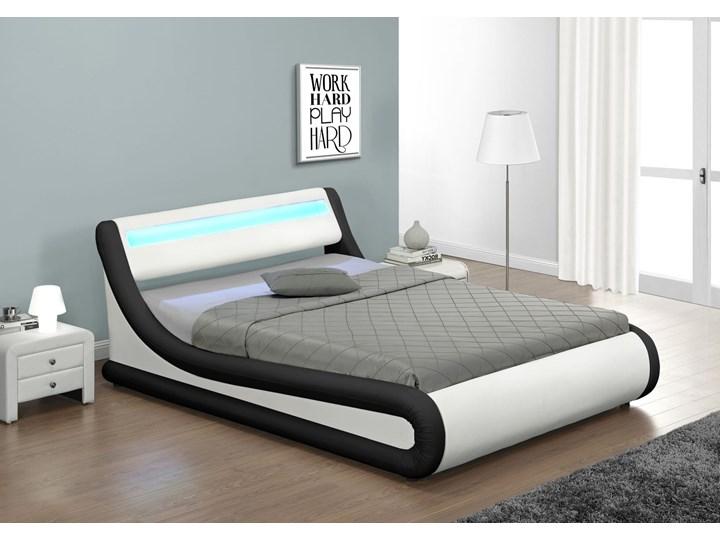 Łóżko z pojemnikiem 120x200 - COMO (138) LED biało-czarne ekoskóra z materacem Łóżko tapicerowane Kolor Biały