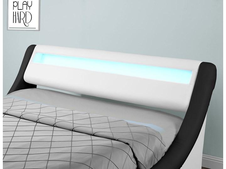 Łóżko z pojemnikiem 120x200 - COMO (138) LED biało-czarne ekoskóra z materacem Łóżko tapicerowane Kolor Czarny