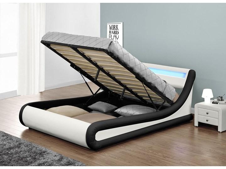 Łóżko z pojemnikiem 120x200 - COMO (138) LED biało-czarne ekoskóra z materacem Kolor Biały Łóżko tapicerowane Kolor Czarny