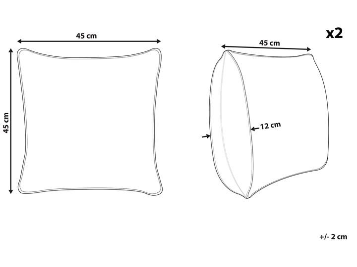 Zestaw 2 poduszek beżowe z czarnym bawełniana poszewka z wypełnieniem kwadratowa 45 x 45 cm wzór boho rustykalny dekoracja Kolor Beżowy 45x45 cm Poszewka dekoracyjna Bawełna Kwadratowe Len Pomieszczenie Sypialnia