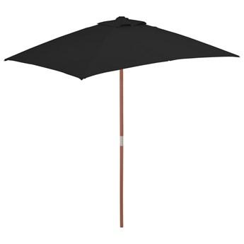 vidaXL Parasol ogrodowy na drewnianym słupku, czarny, 150x200 cm