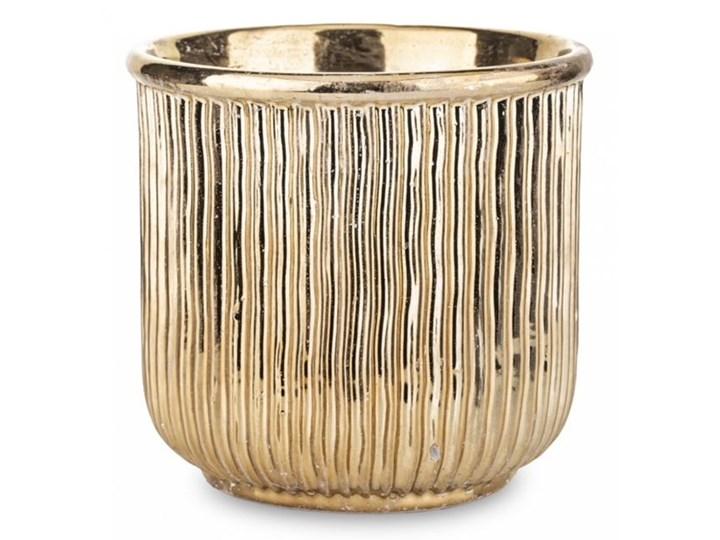 DONICZKA CERAMICZNA ZŁOTA  WALEC WYBIERZ ROZMIAR ALMI  14x20x20cm Doniczka na kwiaty Osłonka na doniczkę Ceramika Kolor Złoty