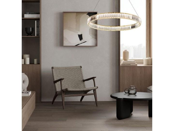 MCODO ::  Kryształowy złoty żyrandol led Prisma 48W z barwą ciepłą 3000K ring 80cm Lampa z kryształkami Lampa LED Lampa z kloszem Metal Styl Nowoczesny
