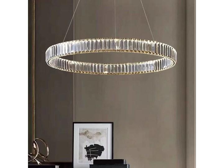 MCODO ::  Kryształowy złoty żyrandol led Prisma 48W z barwą ciepłą 3000K ring 80cm Metal Lampa z kryształkami Lampa LED Styl Glamour Lampa z kloszem Styl Nowoczesny