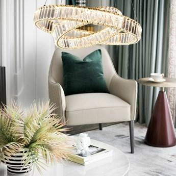 MCODO ::  Kryształowy złoty żyrandol led Prisma 60W z barwą ciepłą 3000K z podwójnymi ringami 60 i 40cm