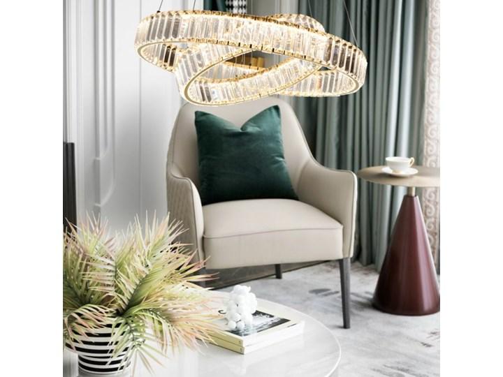MCODO ::  Kryształowy złoty żyrandol led Prisma 60W z barwą ciepłą 3000K z podwójnymi ringami 60 i 40cm Styl Klasyczny Chrom Metal Lampa z kryształkami Kategoria Lampy wiszące