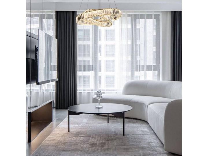 MCODO ::  Kryształowy złoty żyrandol led Prisma 60W z barwą ciepłą 3000K z podwójnymi ringami 60 i 40cm Chrom Styl Nowoczesny Lampa z kryształkami Metal Kategoria Lampy wiszące