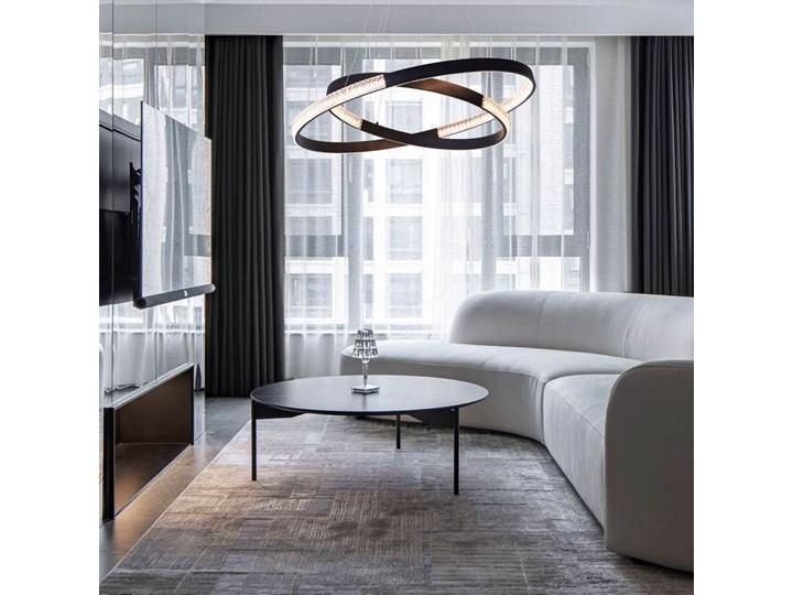 MCODO ::  Nowoczesna lampa led Luna czarna o mocy 60W z barwą ciepłą 3000K 60cm Lampa z kloszem Tworzywo sztuczne Metal Kolor Czarny