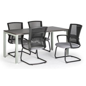 Stół z pl. blatem 1600 x 800, wenge + 4 krzesła Roy, szary