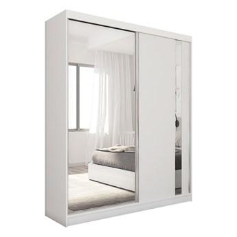 Szafa przesuwna do sypialni GRECJA 160 cm biała z lustrem