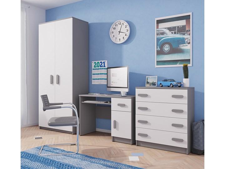 Trzyelementowy szary zestaw mebli do pokoju dziecka. JUNIOR II Kategoria Zestawy mebli do sypialni