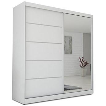 Szafa ubraniowa biała z lustrem MACEDONIA 200 cm przesuwna duża