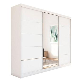 Szafa przesuwna do sypialni MACEDONIA 240 cm biała z lustrem