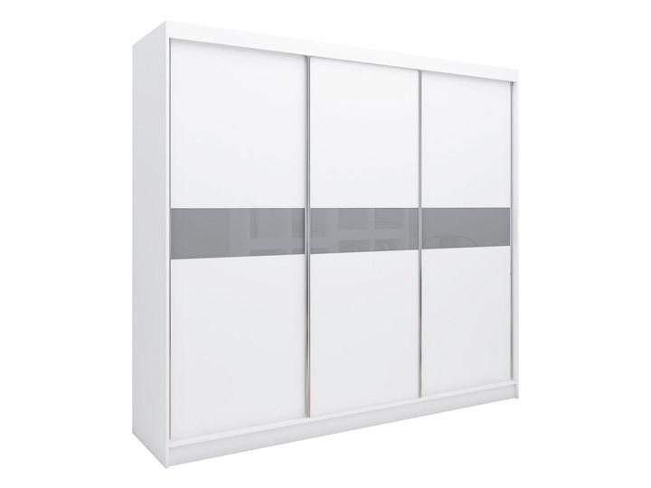 Biało-szara szafa na ubrania do przedpokoju TOKIO 240 cm szkło lacobel