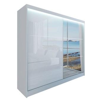 Szafa przesuwna biały połysk WALENCJA 200 cm z lustrem do sypialni