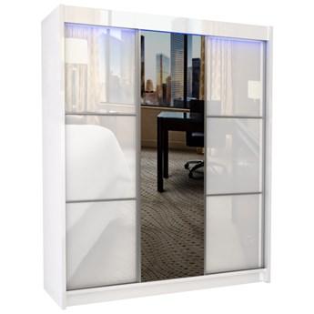 Duża szafa trzydrzwiowa biały lacobel z lustrem WALENCJA 180 cm