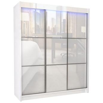 Duża szafa trzydrzwiowa WALENCJA 180 cm biały połysk z półkami