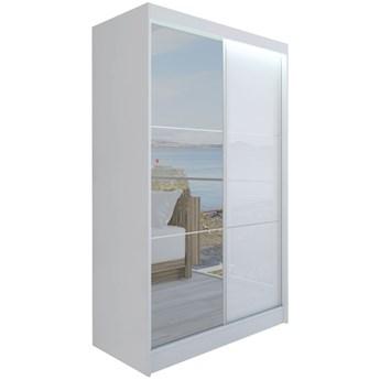 Szafa przesuwna biała połysk WALENCJA lustro 120 cm do salonu