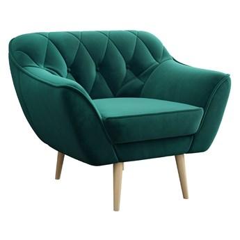 Skandynawski fotel wypoczynkowy do salonu PIRS 1 butelkowa zieleń