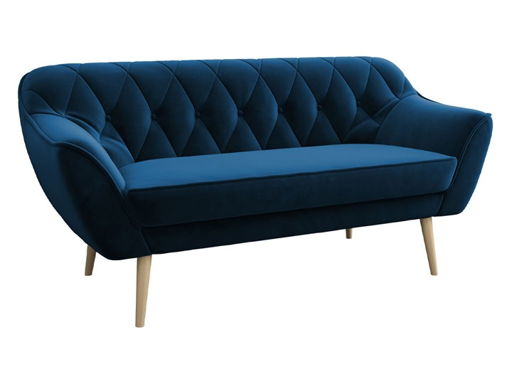 Skandynawska trzyosobowa sofa na wysokich nóżkach PIRS 3 ciemnoniebieska Głębokość 74 cm Szerokość 180 cm Styl Skandynawski Typ Pikowane