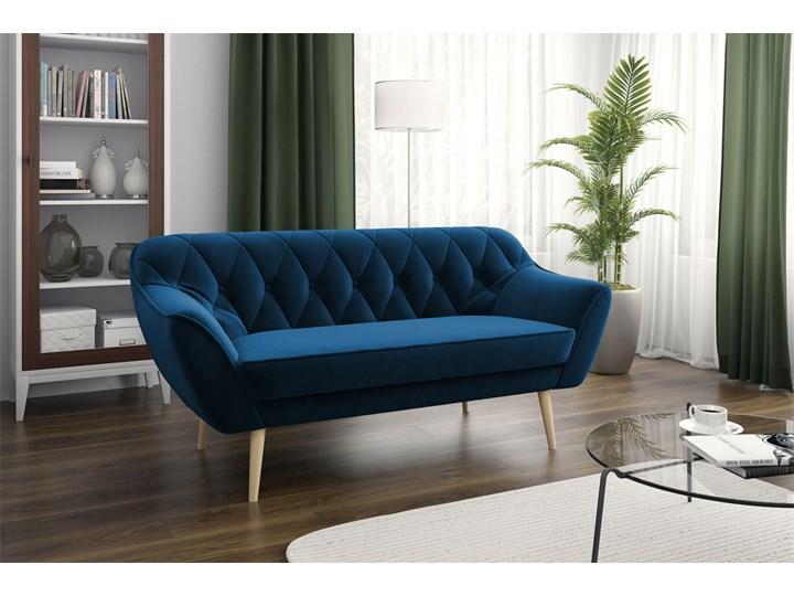 Skandynawska trzyosobowa sofa na wysokich nóżkach PIRS 3 ciemnoniebieska Głębokość 74 cm Szerokość 180 cm Materiał obicia Tkanina