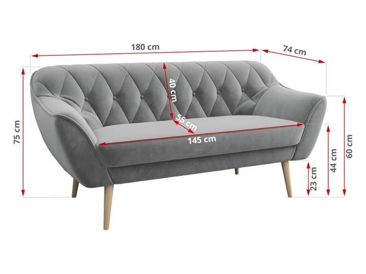 Skandynawska trzyosobowa sofa na wysokich nóżkach PIRS 3 ciemnoniebieska Głębokość 74 cm Szerokość 180 cm Typ Pikowane