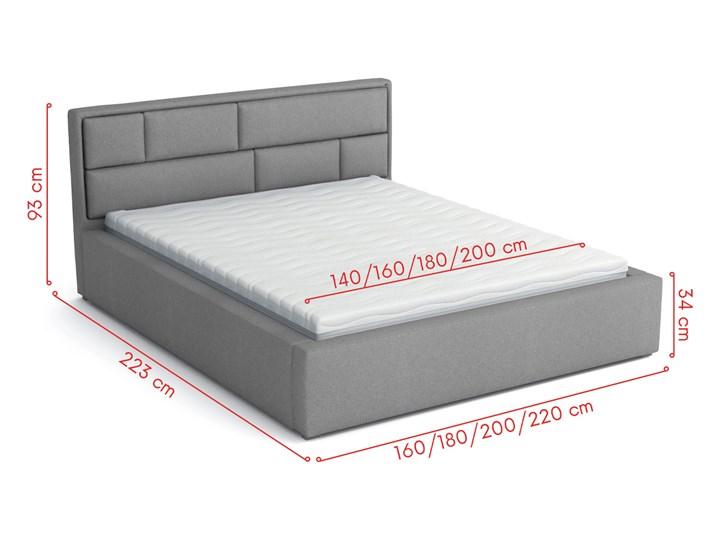 Łóżko tapicerowane biała ekoskóra DAKO 180x200 stelaż metalowy, pojemnik Łóżko metalowe Kolor Biały Pojemnik na pościel Z pojemnikiem