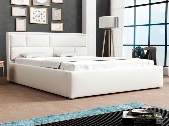 Łóżko tapicerowane biała ekoskóra DAKO 180x200 stelaż metalowy, pojemnik Łóżko metalowe Kolor Biały