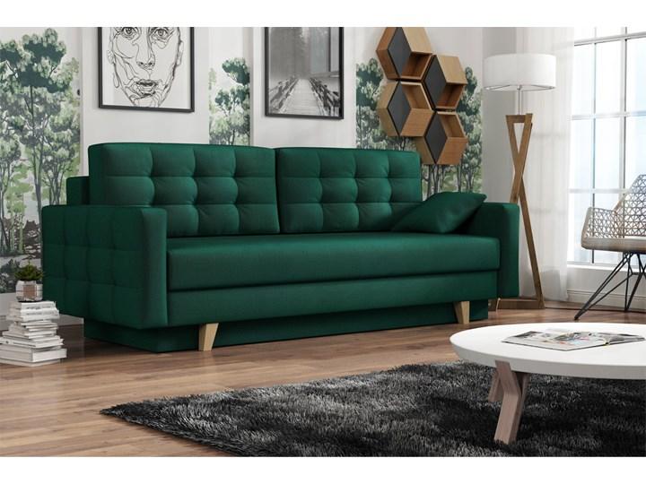 Sofa skandynawska z funkcją spania - ITALIA butelkowa zieleń Typ Pikowane Głębokość 100 cm Szerokość 226 cm Głębokość 145 cm Styl Skandynawski
