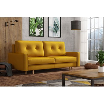 Żółta skandynawska rozkładana kanapa z funkcją spania - LILI