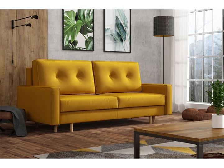Żółta skandynawska rozkładana kanapa z funkcją spania - LILI Szerokość 215 cm Głębokość 100 cm Typ Gładkie