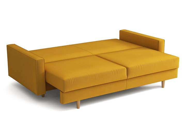 Żółta skandynawska rozkładana kanapa z funkcją spania - LILI Szerokość 215 cm Styl Skandynawski Głębokość 100 cm Kolor Żółty