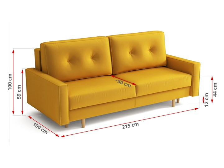 Żółta skandynawska rozkładana kanapa z funkcją spania - LILI Szerokość 215 cm Głębokość 100 cm Styl Nowoczesny
