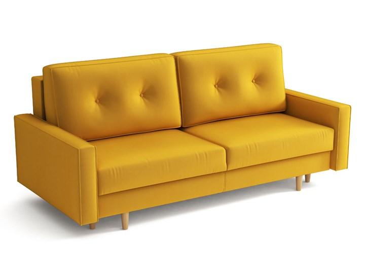 Żółta skandynawska rozkładana kanapa z funkcją spania - LILI Głębokość 100 cm Szerokość 215 cm Styl Nowoczesny