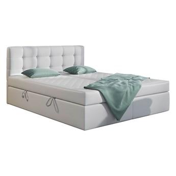 Łóżko kontynentalne Biała Eco skóra CENTO 180x200 podwójny pojemnik