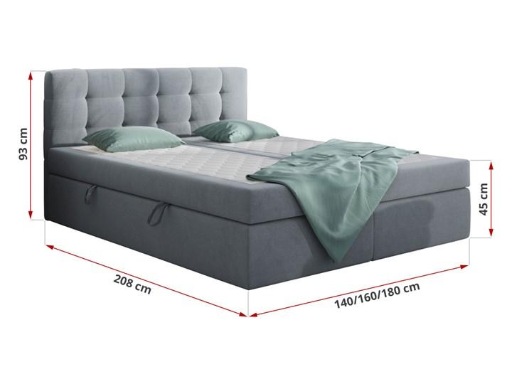 Szare łóżko kontynentalne CENTO 180x200 podwójny pojemnik casablanca Kolor Szary Kategoria Łóżka do sypialni