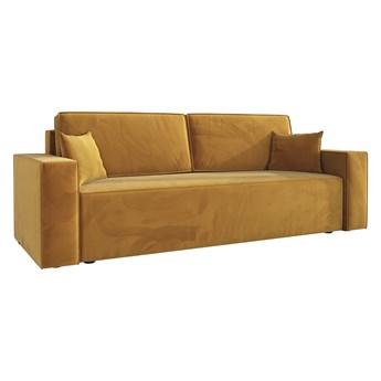 Sofa KLARA rozkładana z pojemnikiem na pościel w kolorze musztardowym