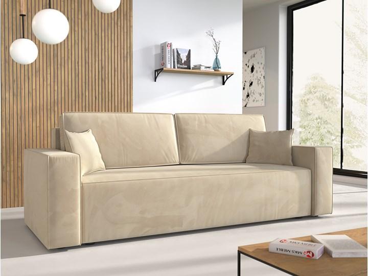 Sofa KLARA rozkładana z pojemnikiem na pościel w kolorze kremowym Szerokość 240 cm Głębokość 87 cm Funkcje Z funkcją spania Kolor Beżowy