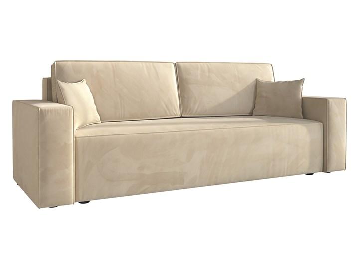 Sofa KLARA rozkładana z pojemnikiem na pościel w kolorze kremowym Szerokość 240 cm Głębokość 87 cm Typ Gładkie