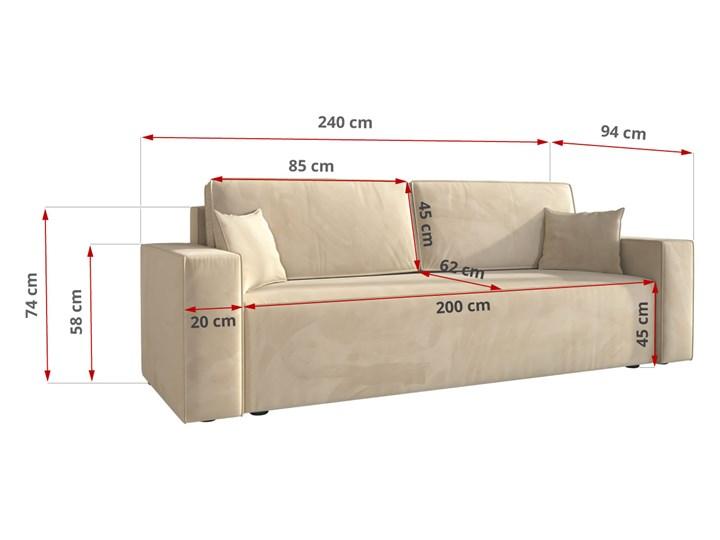 Sofa KLARA rozkładana z pojemnikiem na pościel w kolorze kremowym Głębokość 87 cm Szerokość 240 cm Kolor Beżowy