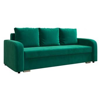 Sofa LENA z funkcją spania i pojemnikiem na pościel w kolorze butelkowa zieleń
