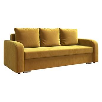 Sofa LENA z funkcją spania i pojemnikiem na pościel w kolorze musztardowym