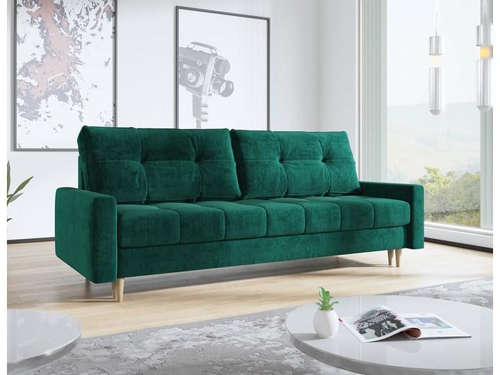 Butelkowa zieleń skandynawska rozkładana sofa z funkcją spania SCANDI Szerokość 214 cm Głębokość 90 cm Styl Skandynawski